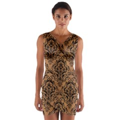Damask1 Black Marble & Light Maple Wood (r) Wrap Front Bodycon Dress