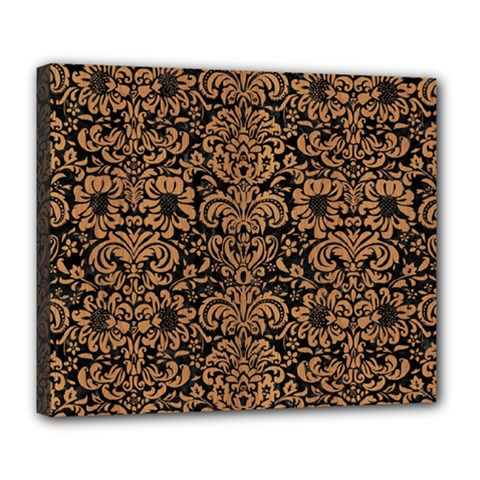 Damask2 Black Marble & Light Maple Wood Deluxe Canvas 24  X 20