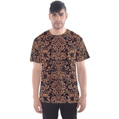 Damask2 Black Marble & Light Maple Wood Men s Sports Mesh Tee
