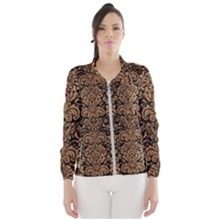 Damask2 Black Marble & Light Maple Wood Wind Breaker (women)