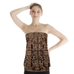 Damask2 Black Marble & Light Maple Wood Strapless Top
