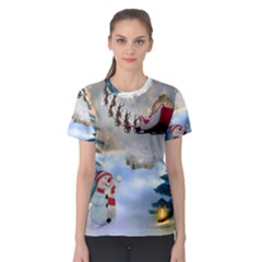 Christmas, Snowman With Santa Claus And Reindeer Women s Sport Mesh Tee