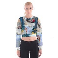 Christmas, Snowman With Santa Claus And Reindeer Cropped Sweatshirt