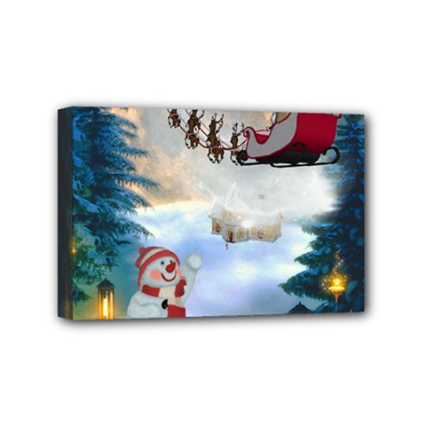 Christmas, Snowman With Santa Claus And Reindeer Mini Canvas 6  X 4