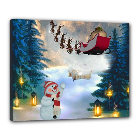 Christmas, Snowman With Santa Claus And Reindeer Canvas 20  X 16