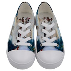 Christmas, Snowman With Santa Claus And Reindeer Kids  Low Top Canvas Sneakers
