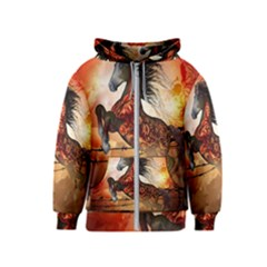 Awesome Creepy Running Horse With Skulls Kids  Zipper Hoodie