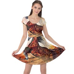 Awesome Creepy Running Horse With Skulls Cap Sleeve Dress