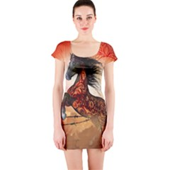 Awesome Creepy Running Horse With Skulls Short Sleeve Bodycon Dress