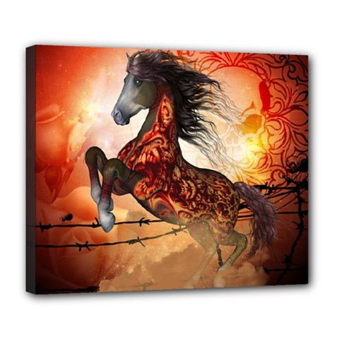 Awesome Creepy Running Horse With Skulls Deluxe Canvas 24  X 20