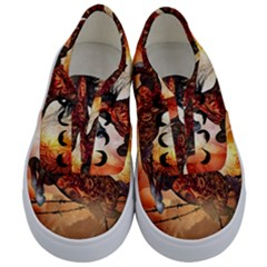 Awesome Creepy Running Horse With Skulls Kids  Classic Low Top Sneakers