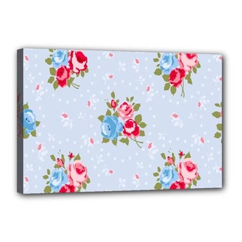 Cute Shabby Chic Floral Pattern Canvas 18  X 12