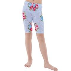 Cute Shabby Chic Floral Pattern Kids  Mid Length Swim Shorts