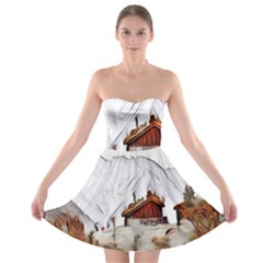 French Coffee Style Abstract Art Strapless Bra Top Dress