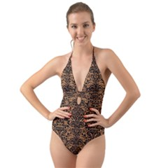 Damask2 Black Marble & Light Maple Wood (r) Halter Cut Out One Piece Swimsuit