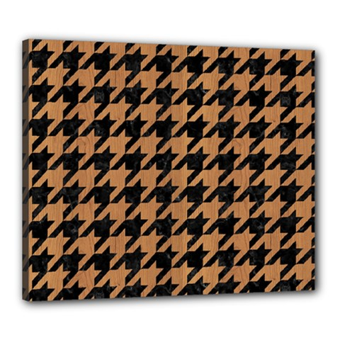 Houndstooth1 Black Marble & Light Maple Wood Canvas 24  X 20