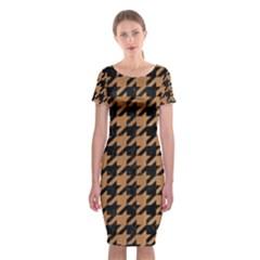 Houndstooth1 Black Marble & Light Maple Wood Classic Short Sleeve Midi Dress