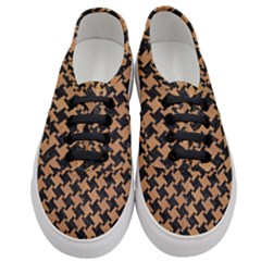 Houndstooth2 Black Marble & Light Maple Wood Women s Classic Low Top Sneakers