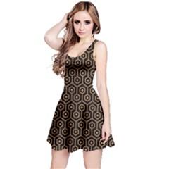 Hexagon1 Black Marble & Light Maple Wood Reversible Sleeveless Dress