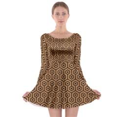 Hexagon1 Black Marble & Light Maple Wood (r) Long Sleeve Skater Dress