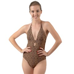 Hexagon1 Black Marble & Light Maple Wood (r) Halter Cut Out One Piece Swimsuit