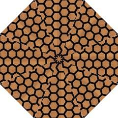 Hexagon2 Black Marble & Light Maple Wood (r) Hook Handle Umbrellas (large)