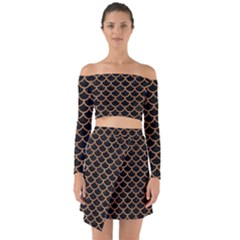 Scales1 Black Marble & Light Maple Wood Off Shoulder Top With Skirt Set