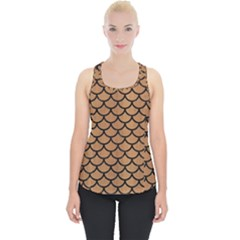Scales1 Black Marble & Light Maple Wood (r) Piece Up Tank Top