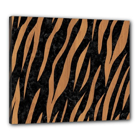 Skin3 Black Marble & Light Maple Wood Canvas 24  X 20