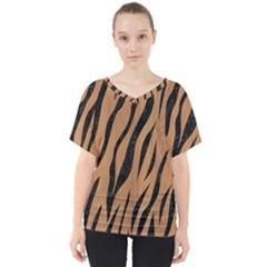 Skin3 Black Marble & Light Maple Wood (r) V Neck Dolman Drape Top