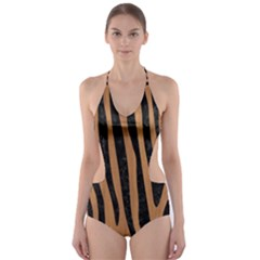 Skin4 Black Marble & Light Maple Wood Cut Out One Piece Swimsuit