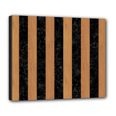 Stripes1 Black Marble & Light Maple Wood Deluxe Canvas 24  X 20
