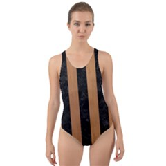 Stripes1 Black Marble & Light Maple Wood Cut Out Back One Piece Swimsuit