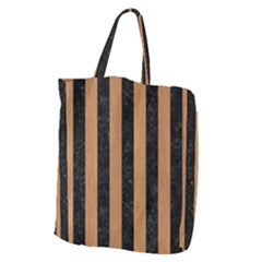 Stripes1 Black Marble & Light Maple Wood Giant Grocery Zipper Tote