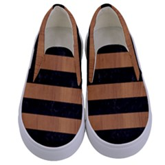 Stripes2 Black Marble & Light Maple Wood Kids  Canvas Slip Ons