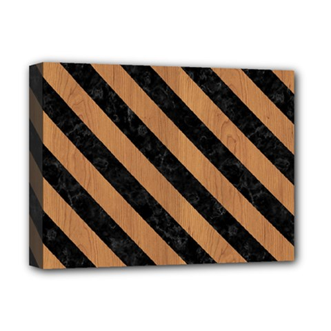 Stripes3 Black Marble & Light Maple Wood (r) Deluxe Canvas 16  X 12
