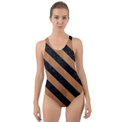Stripes3 Black Marble & Light Maple Wood (r) Cut Out Back One Piece Swimsuit