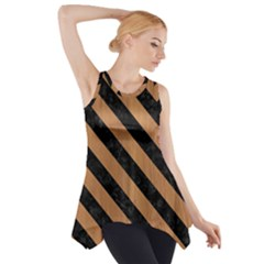 Stripes3 Black Marble & Light Maple Wood (r) Side Drop Tank Tunic