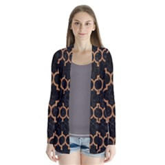 Tile1 Black Marble & Light Maple Wood Drape Collar Cardigan