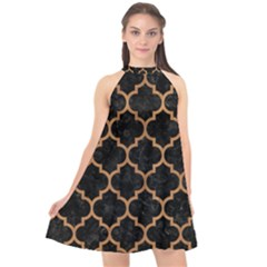 Tile1 Black Marble & Light Maple Wood Halter Neckline Chiffon Dress
