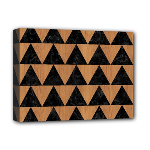Triangle2 Black Marble & Light Maple Wood Deluxe Canvas 16  X 12