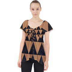 Triangle2 Black Marble & Light Maple Wood Lace Front Dolly Top