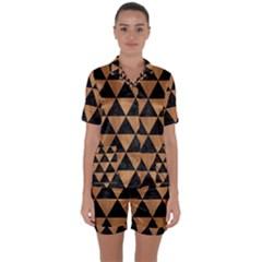 Triangle3 Black Marble & Light Maple Wood Satin Short Sleeve Pyjamas Set