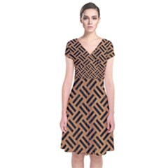 Woven2 Black Marble & Light Maple Wood (r) Short Sleeve Front Wrap Dress