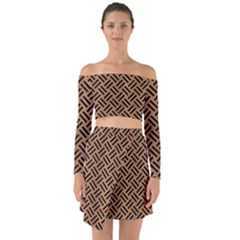 Woven2 Black Marble & Light Maple Wood (r) Off Shoulder Top With Skirt Set