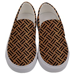 Woven2 Black Marble & Light Maple Wood (r) Men s Canvas Slip Ons