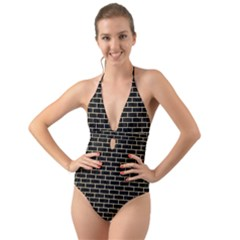 Brick1 Black Marble & Light Sand Halter Cut Out One Piece Swimsuit