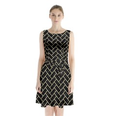 Brick2 Black Marble & Light Sand Sleeveless Waist Tie Chiffon Dress