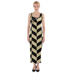 Chevron1 Black Marble & Light Sand Fitted Maxi Dress