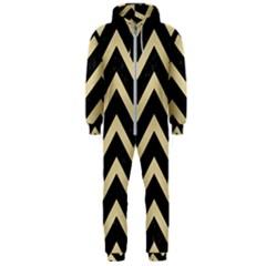 Chevron9 Black Marble & Light Sand Hooded Jumpsuit (men)
